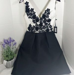 New Vera Wang Black White Applique A Line Dress